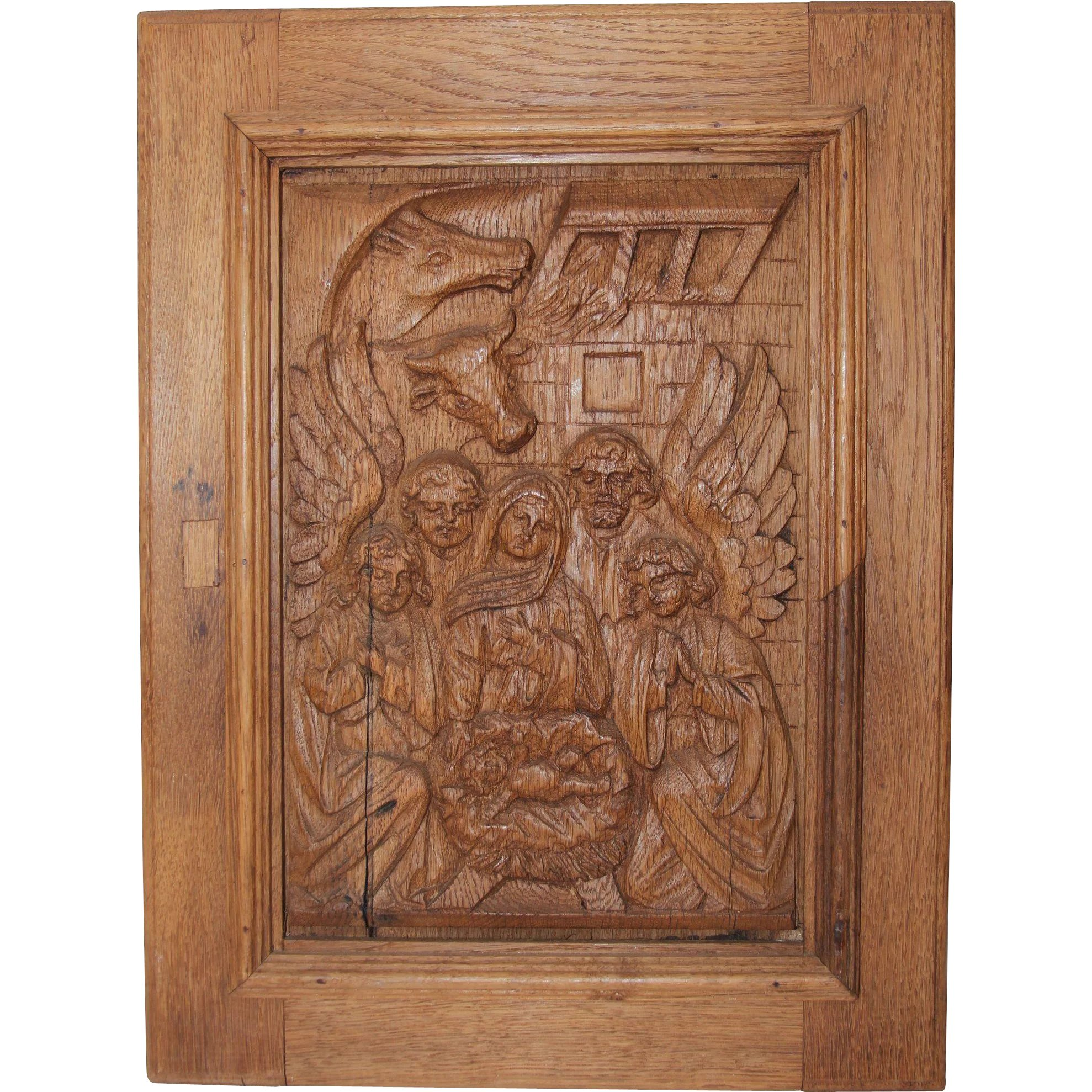 18th Century Nativity Scene Wood Carved Depiction Of The