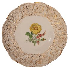 Meissen Porcelain Floral Ceremonial Plate / Center Bowl  - Handpainted with Gilt 1924 - 1934