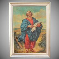 Original Baroque Style Oil Painting of Apostle St. Jude (Judas Thaddaeus) by Josef Hunstiger 1945