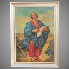 Original Baroque Style Oil Painting of Apostle St. Jude (Judas Thaddaeus) by Josef Hunstiger 1945