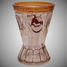 19th Century Bohemian Lead Crystal Amber & Ruby Vase with Wildlife & Flower Engraving