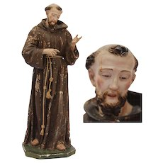 Statue of Francis of Assisi from South Italy / 18th - 19th Century / Carved Wood, Fabric & Clay