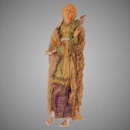 18th Century Neapolitan Creche Figure of Old Lady - Terracotta & Silk
