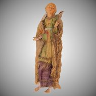 18th Century Neapolitan Creche Figure of Old Lady - Terracotta & Silk