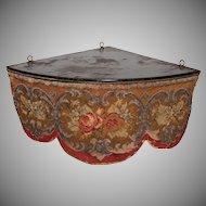 Victorian Beadwork Needlepoint Roses Valance with original Shelf