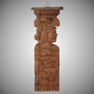 19th Century Carved Wood Shelf of a knight soldier with sword