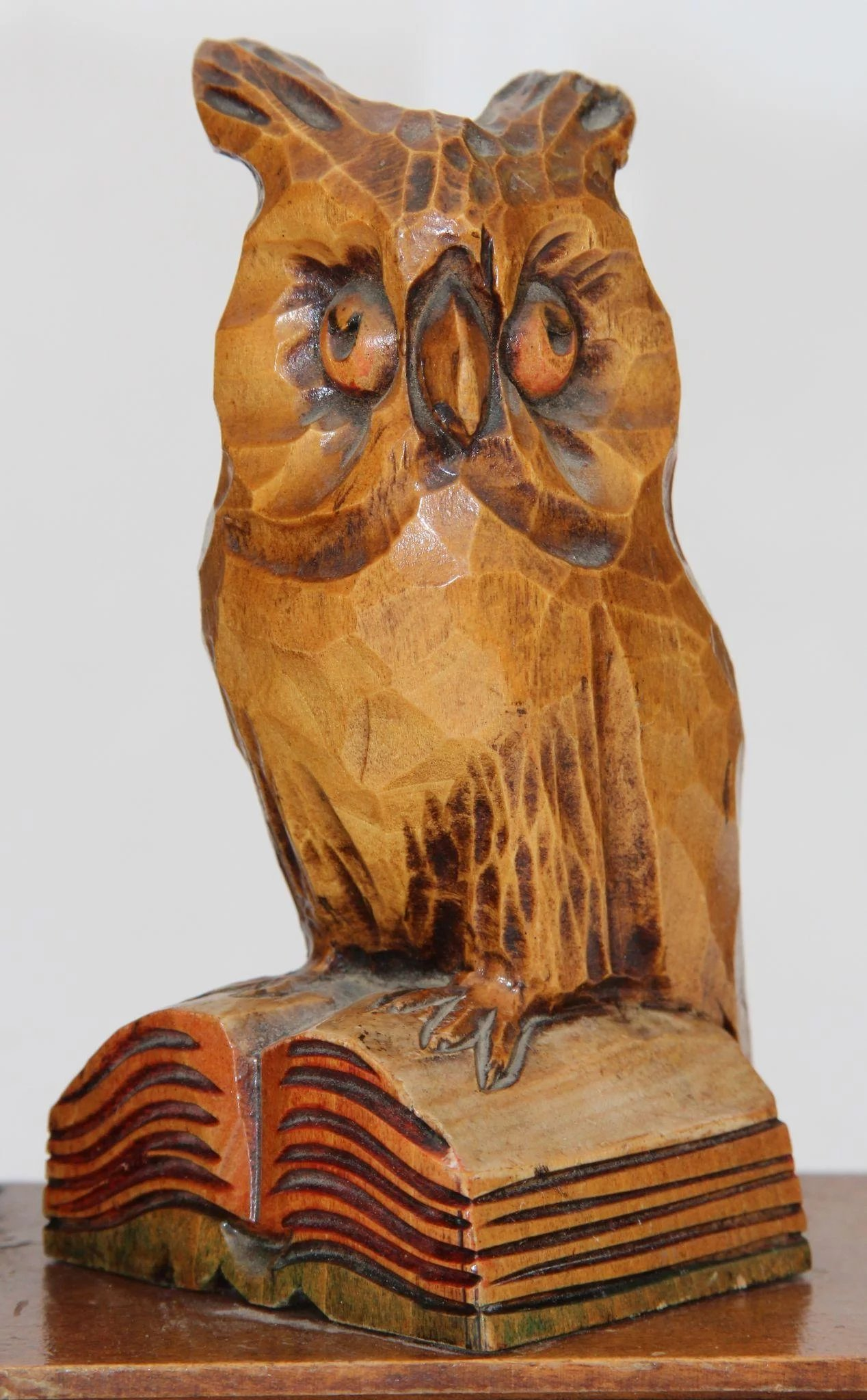 Midcentury Pair Of Owl Bookends Fine Carved Wood Black