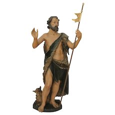 19th Century Tall Statue of St John the Baptist - 46 Inch - carved wood Polychrome (German) - Red Tag Sale Item