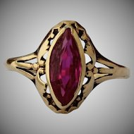 1970's Art Nouveau Style 14K Gold Ruby (synthetic) Solitaire Ring
