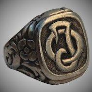 "1880's heavy & decorative Victorian Signet Ring ""OJ"""
