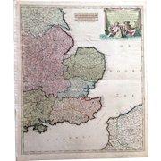 Beautiful Antique map of South-East England incl. London (F. de Witt ca 1700)