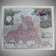 Rare antique Map of The Region around Salzburg Austria (Johann Baptist Homann circa 1720)