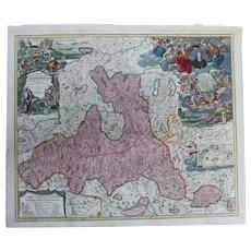 Rare antique Map of The Region around Salzburg Austria (Johann Baptist Homann circa 1720)