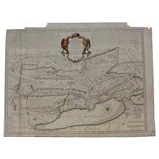 Beautiful 18th Century map of the Principality of Neuchâtel / Neuenburg and Vallangin - modern Switzerland (Guillaume de Lisle)