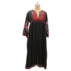 70s Handmade Vintage Embroidery Flower Pattern Maxi Dress
