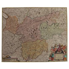 Beautiful 17th Century Antique baroque map of Tyrol / Tirol by Frederick de Witt