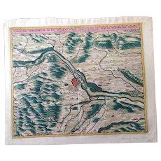 Decorative Antique Map of Vienna during the Ottoman-Habsburg wars (Visscher 1690)