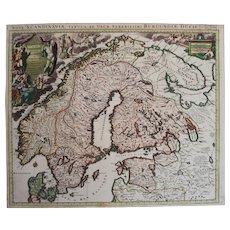 Antique map of Scandinavia (Norway, Sweden, Denmark, Finland, Russia etc) (P.Mortier 1705)