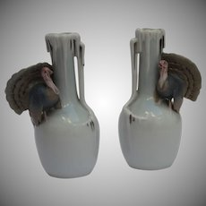 Set of 2 Fine Art Nouveau Vases by Metzler & Ortloff in Turkey Design (Germany)