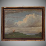"Otto Fikentscher Oil Painting "" Bull on a Hill "" circa 1900 (Germany)"