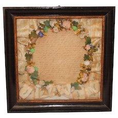 Antique Biedermeier Silk Flower Mourning Wreath in Shadow Box Frame