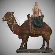 Original Antique Neapolitan Creche Figure - Woman on a Camel