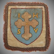 19th Century Gold Embroidered Pall / Chalice or Ciborium Cover
