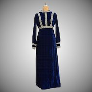 Stunning Vintage Blue Velvet and Lace Maxi Dress