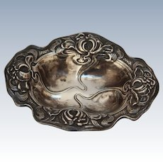 Art Nouveau Small Sterling Silver Dish / Jewelry or Sweets Bowl