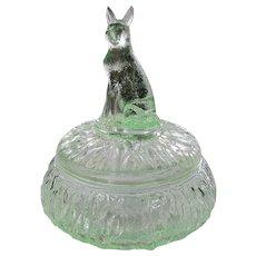 "Rare Transparent Green Glass German Shepherd ""Rin Tin Tin"" Powder Puff Jar"
