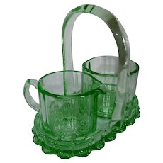 Green Depression Glass Sugar and Creamer Tray Bridge Set by New Martinsville