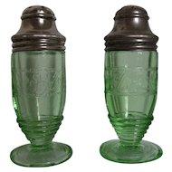 Green Depression Glass Cloverleaf Salt & Pepper Shakers