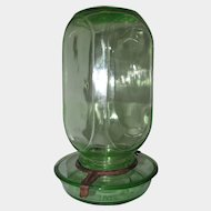 Oakes Mfg. Co. Green Glass Chicken Waterer / Feeder 1930s - 1940s