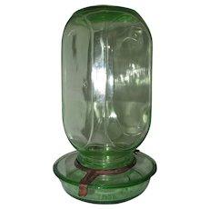 Oakes Mfg. Co. Green Glass Chicken Waterer / Feeder 1930s - 1940s