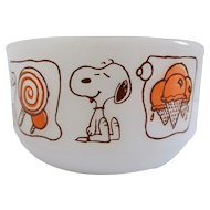 Snoopy Ice Cream Dreams Milk Glass Bowl Anchor Hocking Fire-King