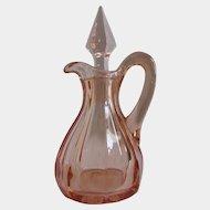 Antique Pink Glass Westmoreland 2 oz. Cruet Oil Bottle 1912-1917