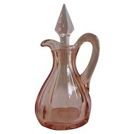 Antique Pink Glass Westmoreland 2 oz. Cruet Oil Bottle 1912-1917