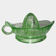 Green Depression Glass Large Loop Handle Reamer Juicer