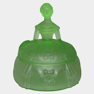 "Ramses ""Crinoline Girl"" Frosted Green Glass Figural Powder Puff Jar c. 1931"