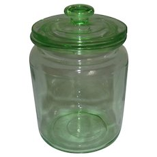 Hocking Green Depression Uranium Glass 8 oz. Provision Jar