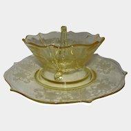 "Yellow Depression Glass Lancaster ""Patrick"" 3-part Mayonnaise Bowl Plate Ladle"