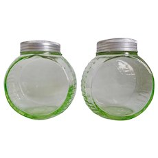 Hocking Green Depression Glass Advertising Salt Pepper Hoosier Range Round Shakers