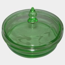 Cambridge Green Etched Glass Cheese Dish & Cover 1936-1952
