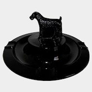 L. E. Smith Black Depression Glass Terrier Dog Ashtray