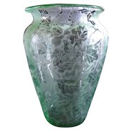 "Fostoria Glass Green ""Oak Leaf"" Brocade Etch 6"" Vase 1928-1930"