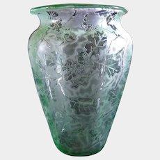 "Fostoria Glass Green ""Oak Leaf"" Brocade Etch 6"" Vase 1928-1930"