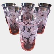 "6 Cambridge Glass  ""Martha"" Grape Etched 5 oz. Pink Optic Tumblers"