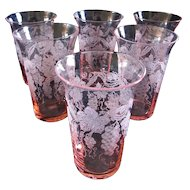 "6 Cambridge Glass  ""Martha"" Grape Etched 5 oz. Pink Optic Tumblers"