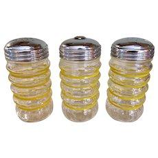 Anchor Hocking Fire-King Striped Crystal Glass Sugar Pourer Salt Pepper Shakers