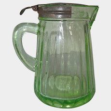 Hocking Green Depression Glass Syrup Pitcher